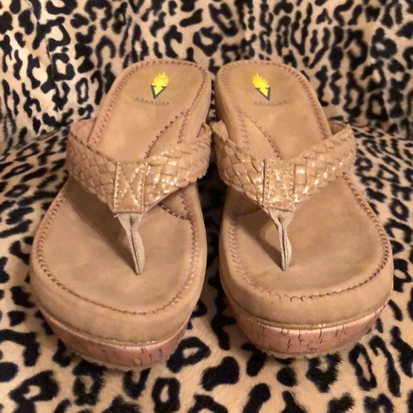 Volatile Gold Wedge Sandals Size 9